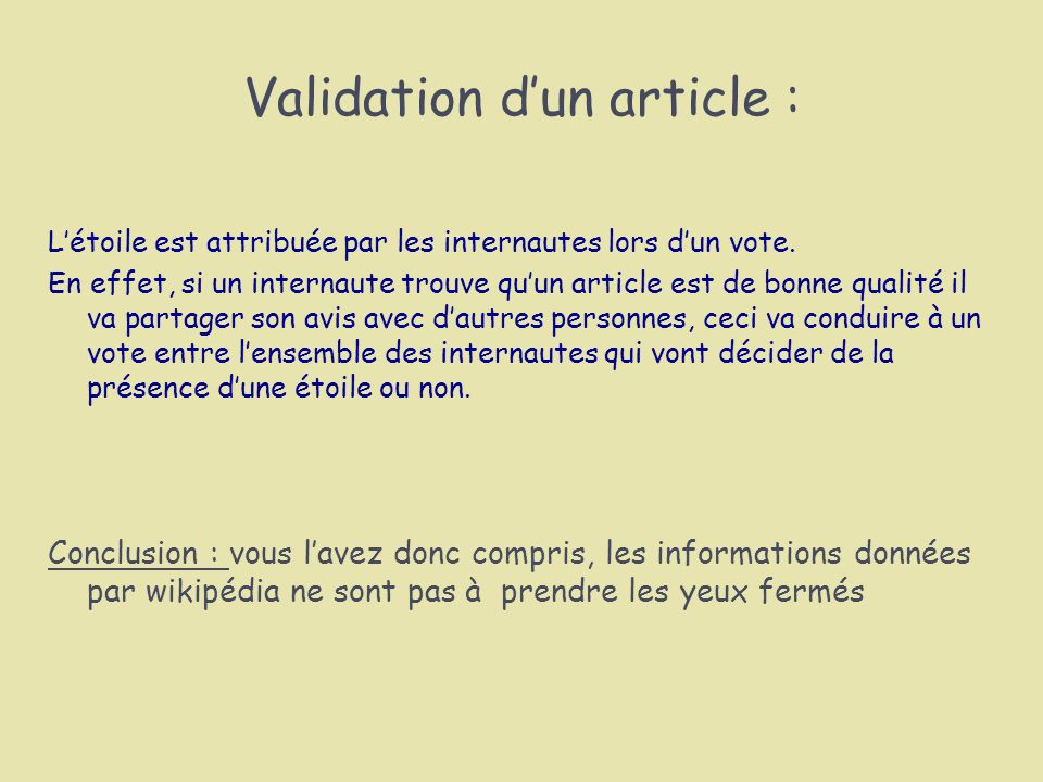 Validation d'un article :