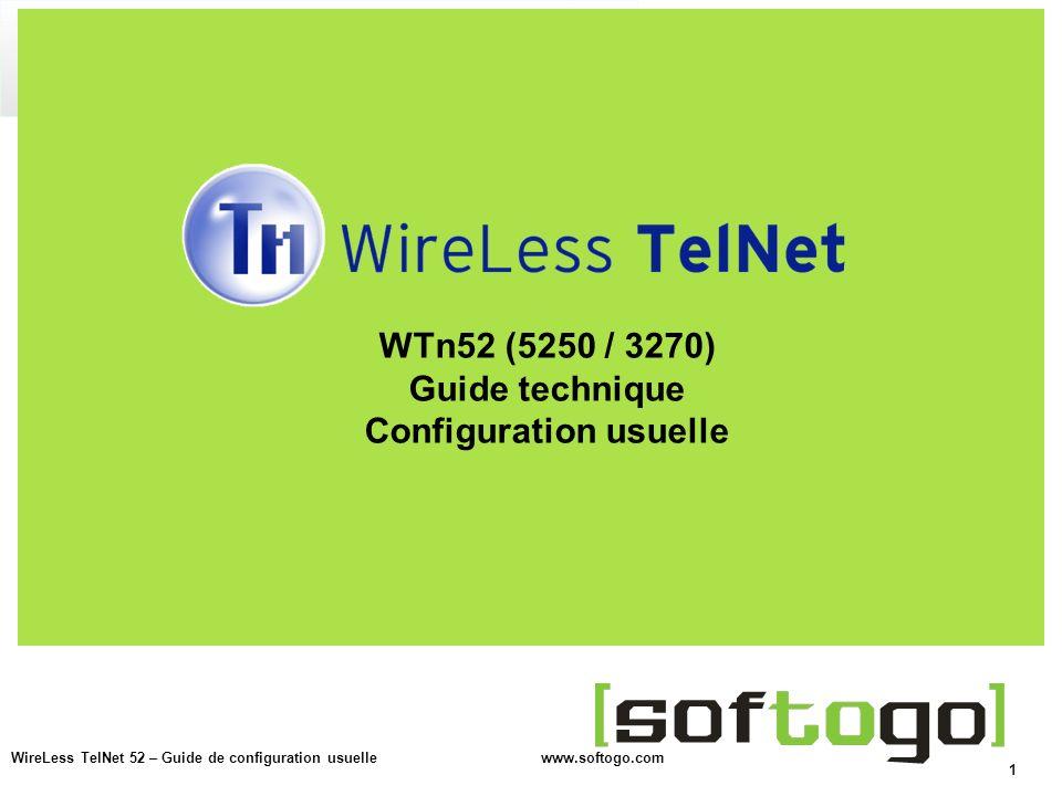 WTn52 (5250 / 3270) Guide technique Configuration usuelle