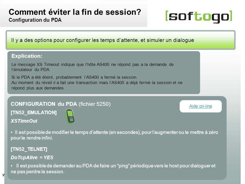 Comment éviter la fin de session Configuration du PDA