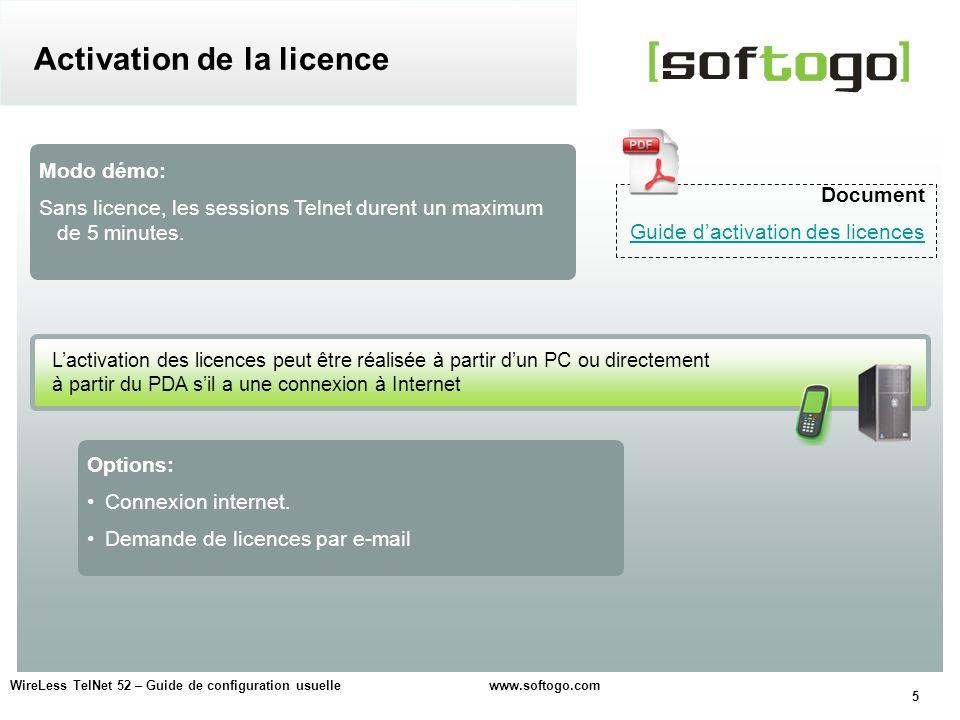 Activation de la licence