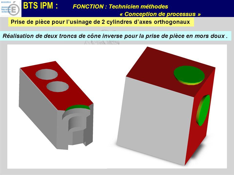 Prise de pièce pour l'usinage de 2 cylindres d'axes orthogonaux