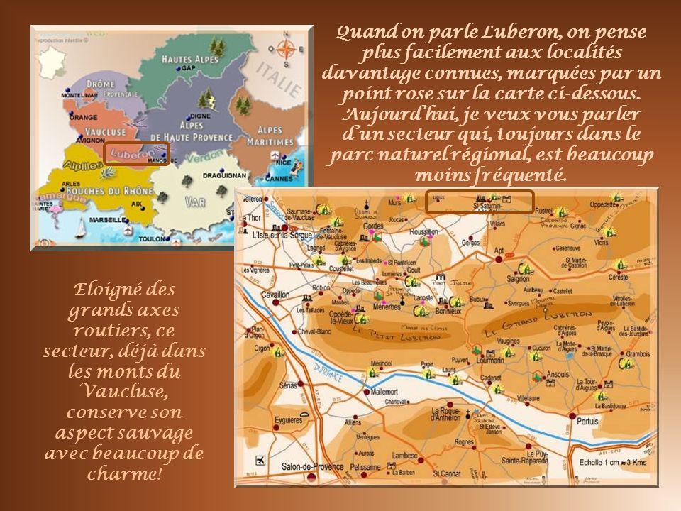 Quand on parle Luberon, on pense plus facilement aux localités davantage connues, marquées par un point rose sur la carte ci-dessous. Aujourd'hui, je veux vous parler d'un secteur qui, toujours dans le parc naturel régional, est beaucoup moins fréquenté.