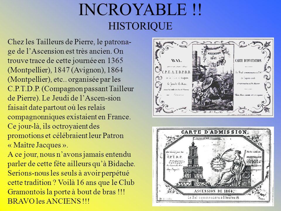 INCROYABLE !! HISTORIQUE