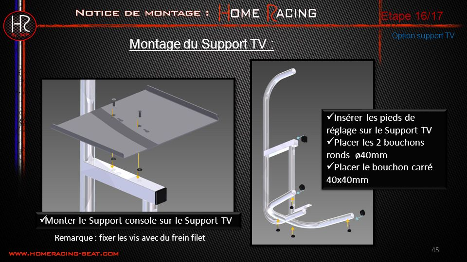 Montage du Support TV : Etape 16/17