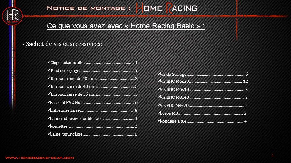 Ce que vous avez avec « Home Racing Basic » :