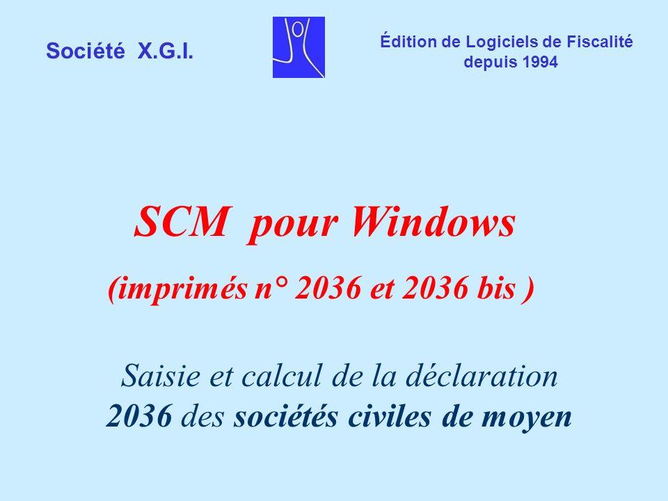 Saisie et calcul de la déclaration 2036 des sociétés civiles de moyen