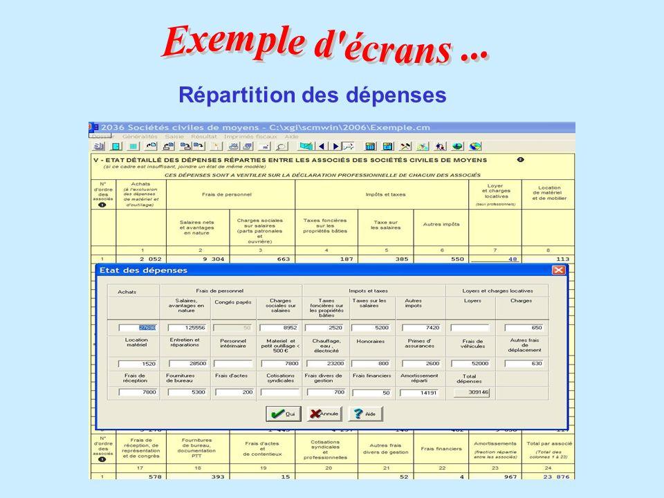 Exemple d écrans ... Répartition des dépenses