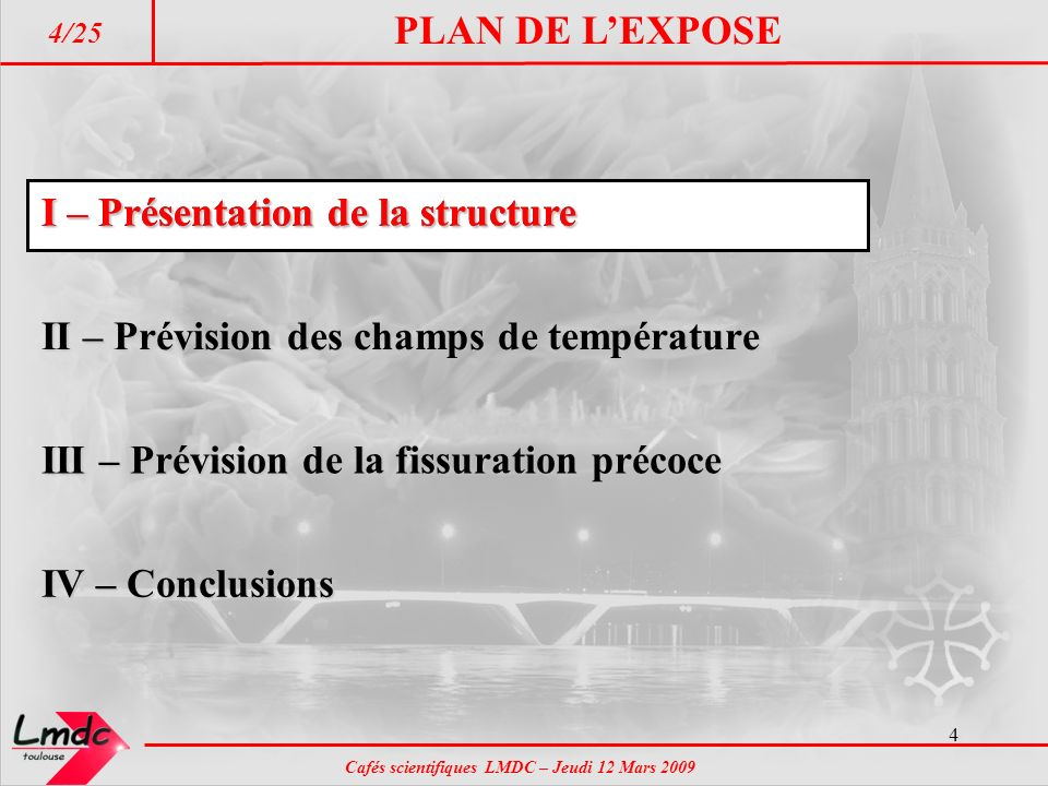 PLAN DE L'EXPOSE I – Présentation de la structure. I – Présentation de la structure. II – Prévision des champs de température.
