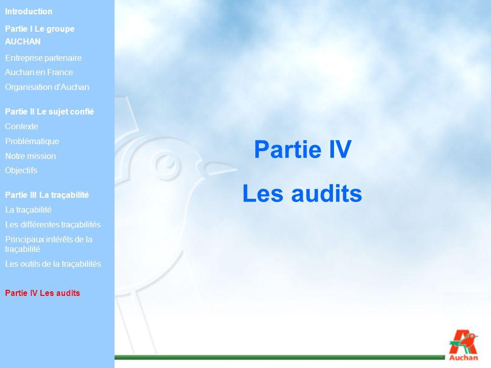 Partie IV Les audits Introduction Partie I Le groupe AUCHAN