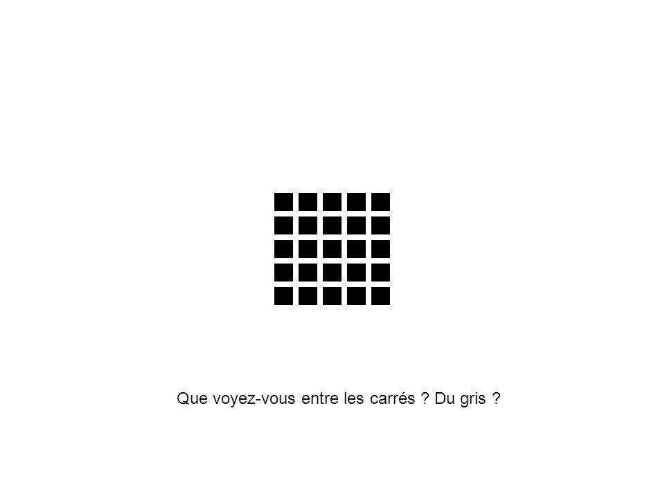 Que voyez-vous entre les carrés Du gris