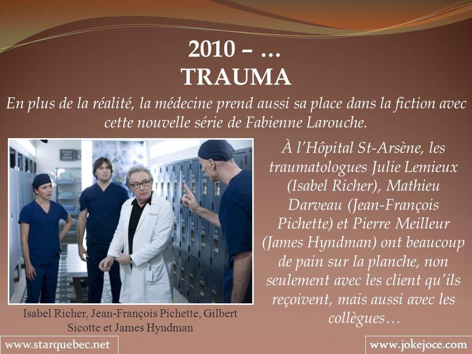 2010 – … TRAUMA. En plus de la réalité, la médecine prend aussi sa place dans la fiction avec cette nouvelle série de Fabienne Larouche.
