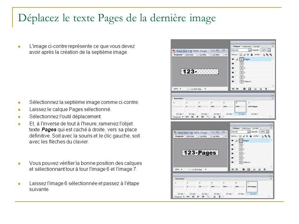 Déplacez le texte Pages de la dernière image
