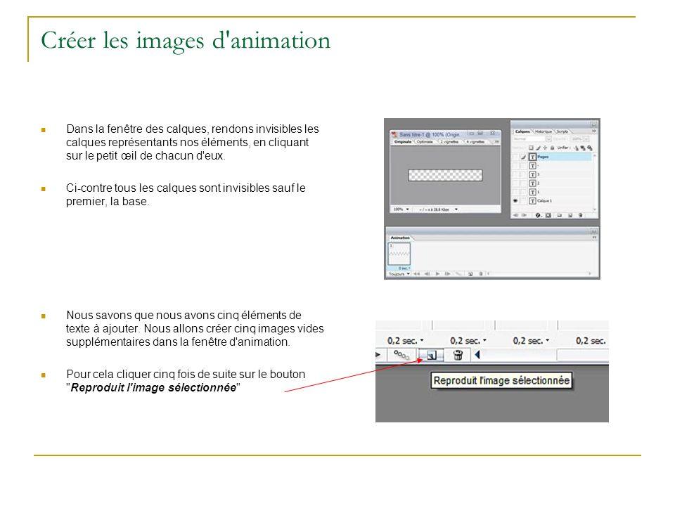 Créer les images d animation