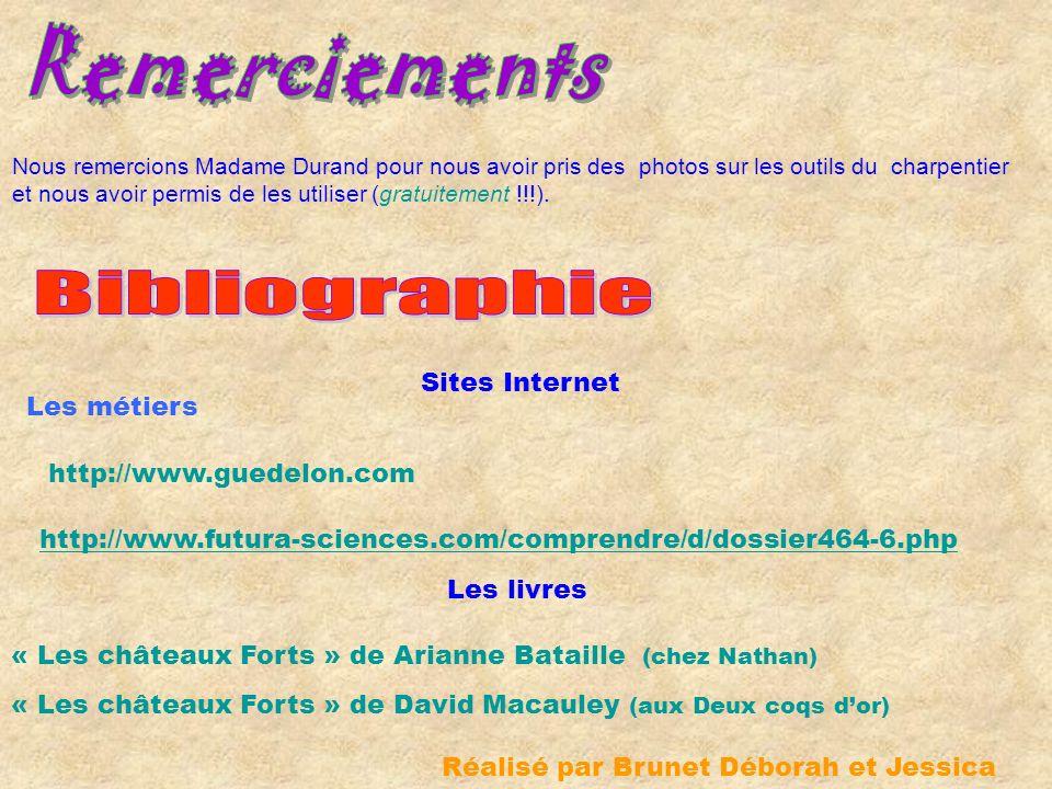 Remerciements Bibliographie Sites Internet Les métiers