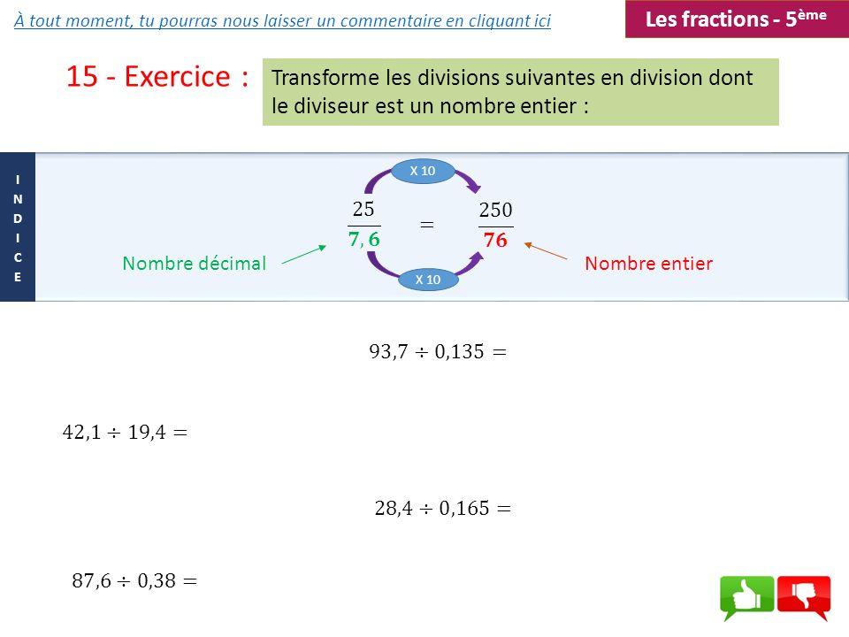 15 - Exercice : Les fractions - 5ème