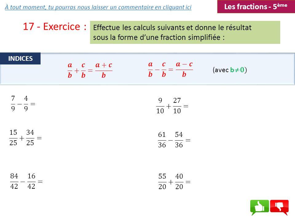 17 - Exercice : Les fractions - 5ème