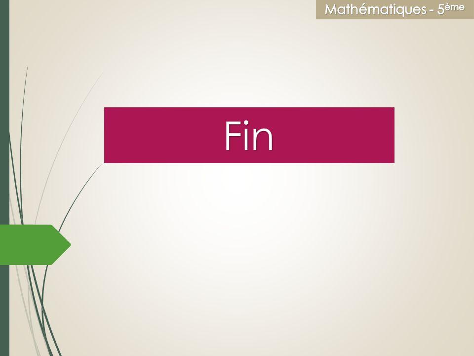 Education civique Mathématiques - 5ème Fin