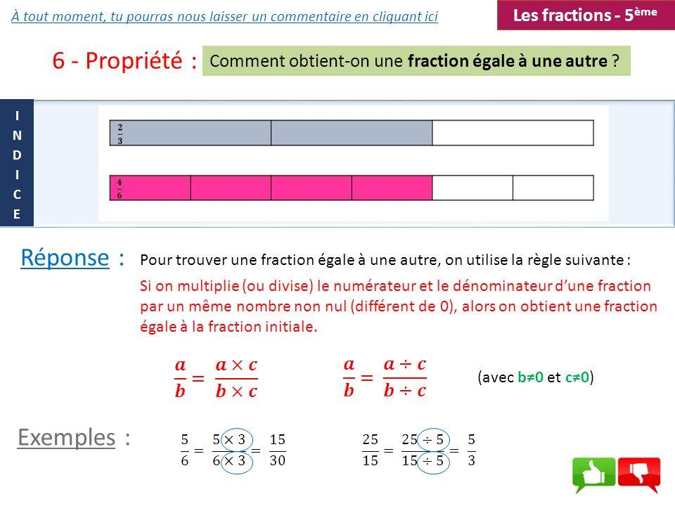 6 - Propriété : Réponse : Exemples : Les fractions - 5ème