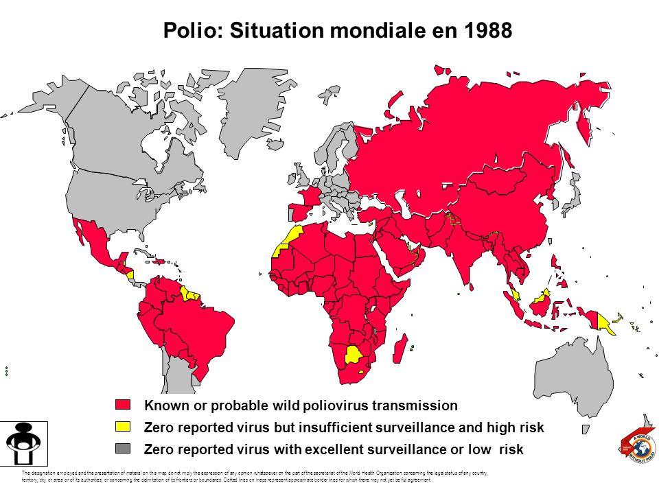 Polio: Situation mondiale en 1988