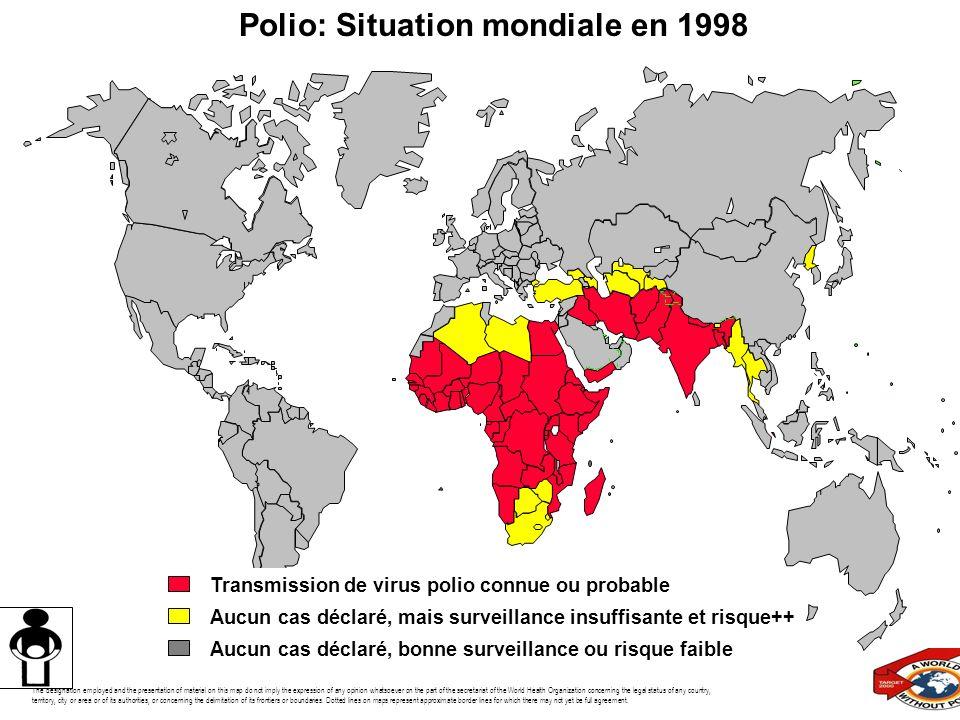 Polio: Situation mondiale en 1998