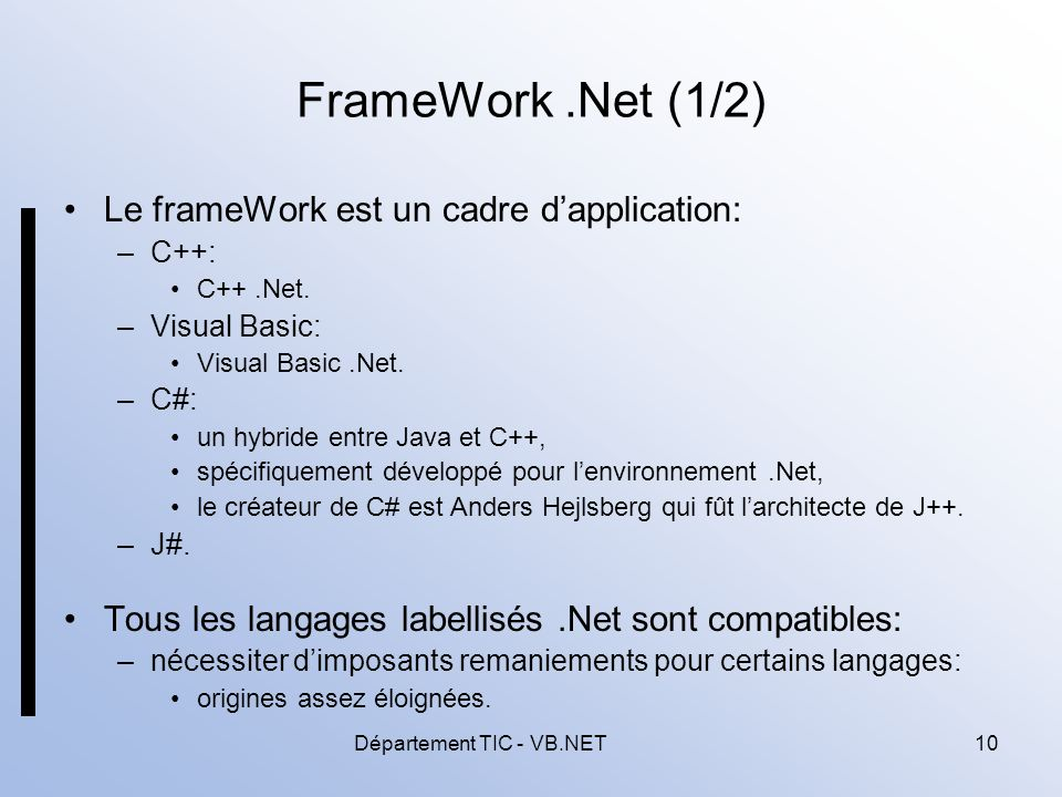 Département TIC - VB.NET