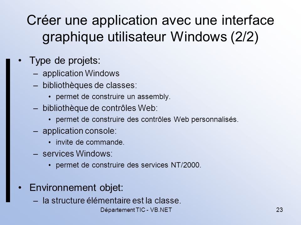 Département TIC - VB.NET