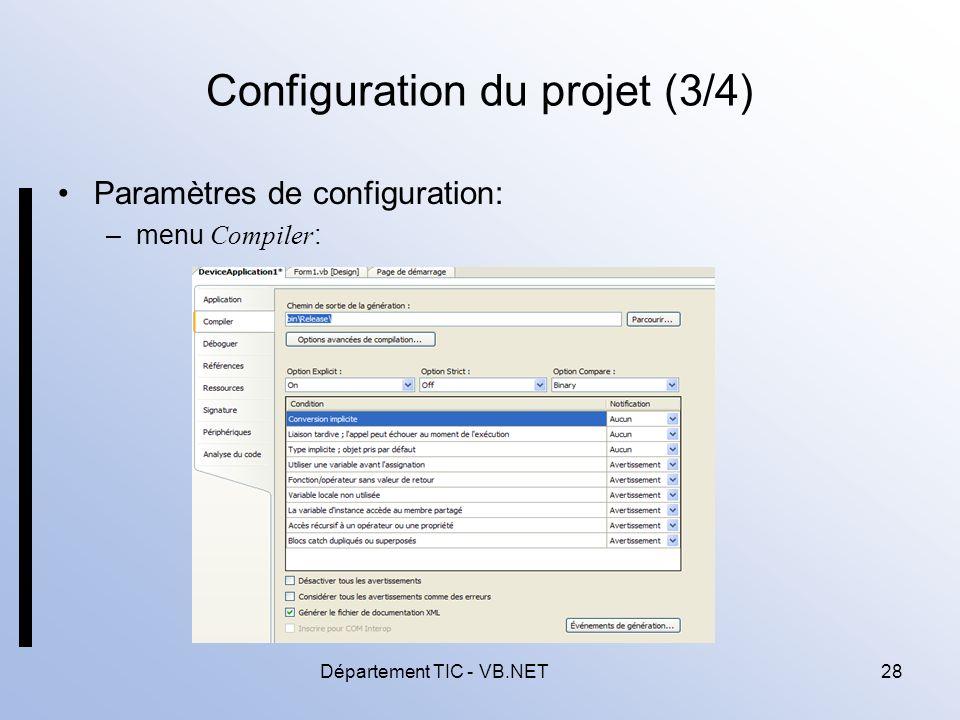 Configuration du projet (3/4)