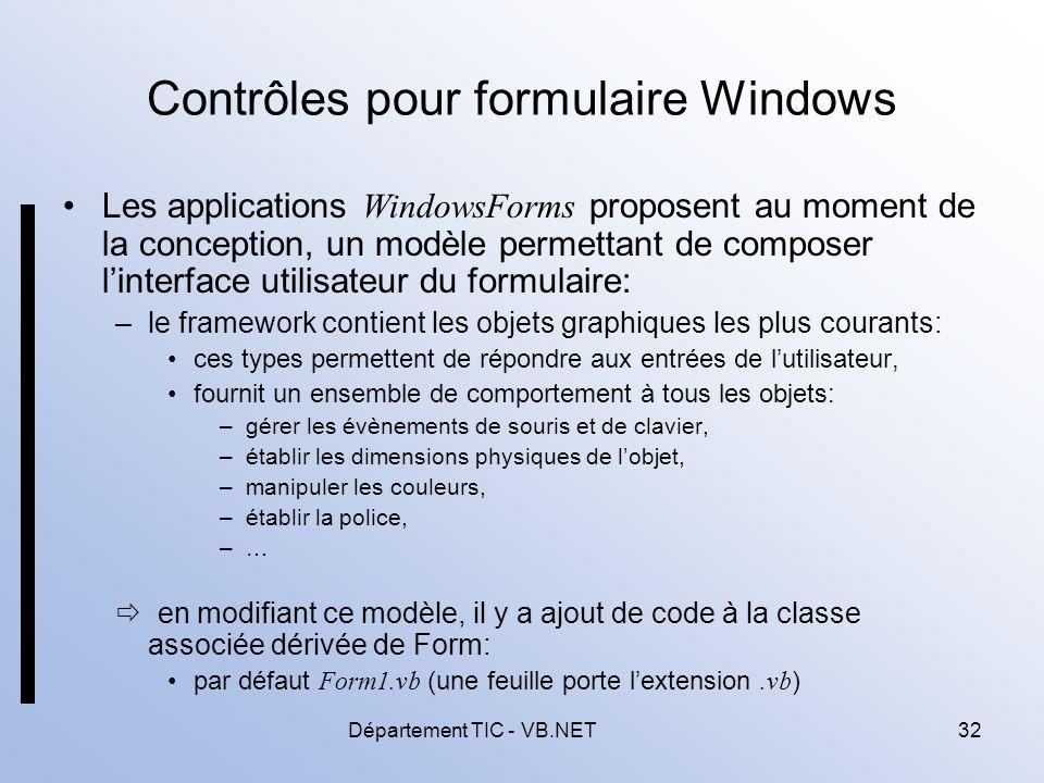 Contrôles pour formulaire Windows