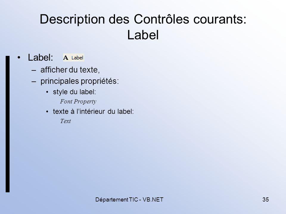 Description des Contrôles courants: Label