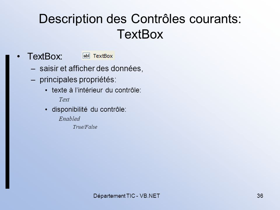Description des Contrôles courants: TextBox