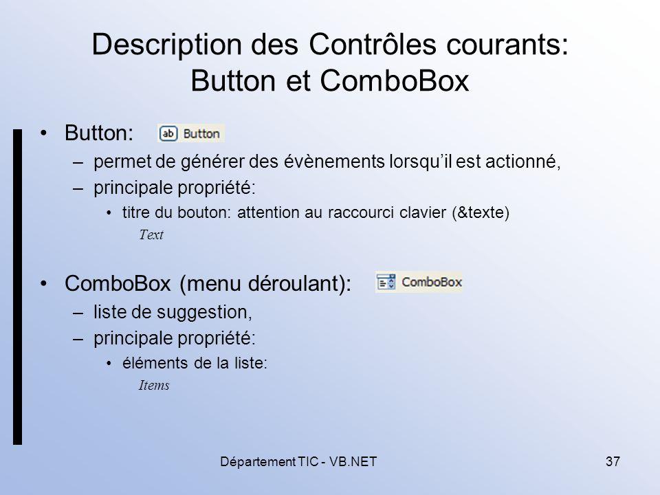 Description des Contrôles courants: Button et ComboBox