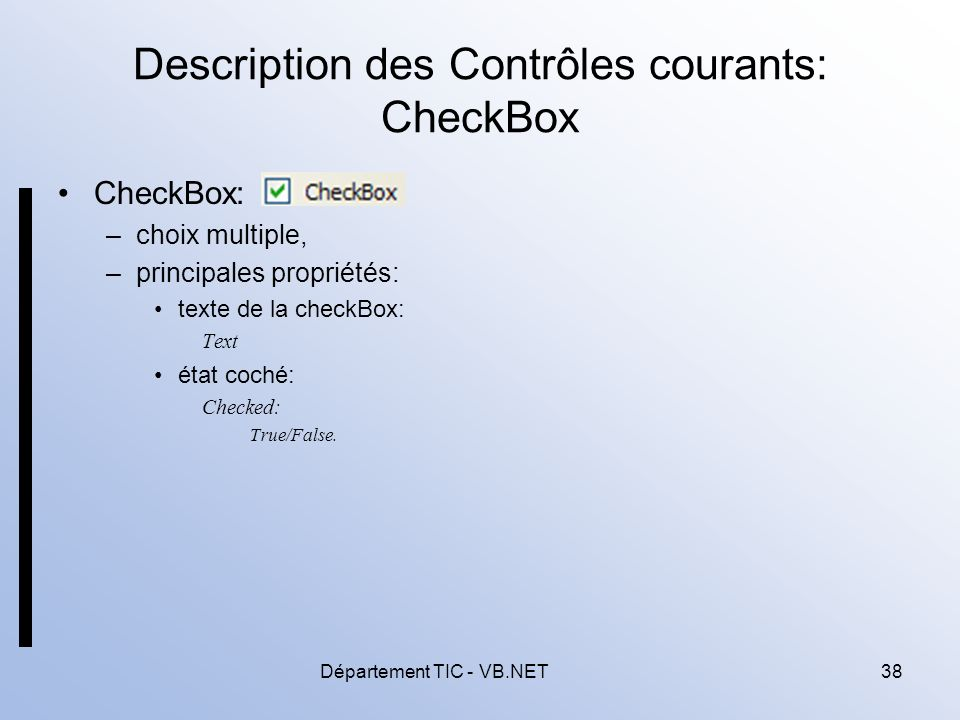 Description des Contrôles courants: CheckBox