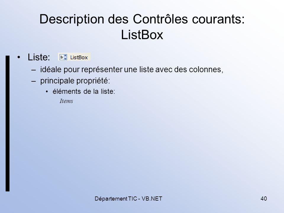 Description des Contrôles courants: ListBox