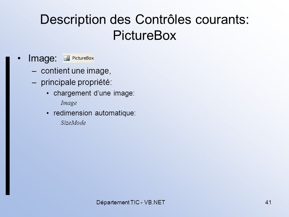 Description des Contrôles courants: PictureBox
