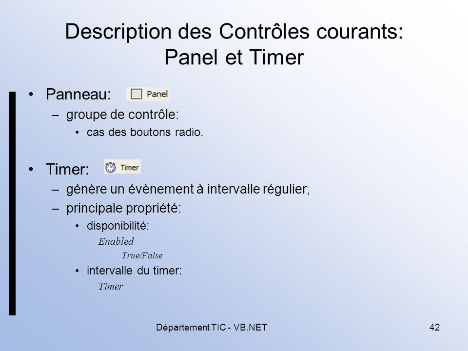 Description des Contrôles courants: Panel et Timer