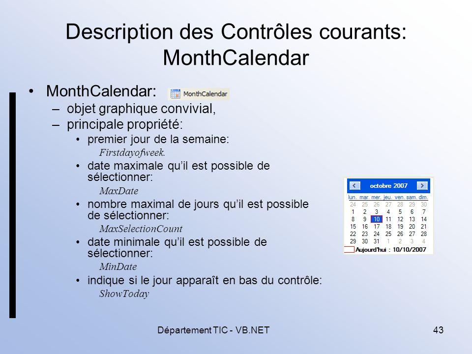 Description des Contrôles courants: MonthCalendar