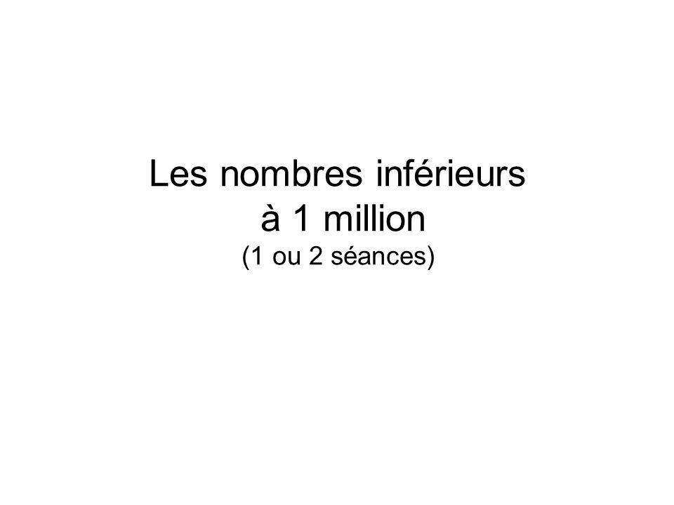 Les nombres inférieurs à 1 million (1 ou 2 séances)