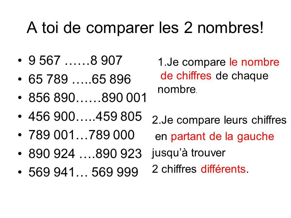 A toi de comparer les 2 nombres!