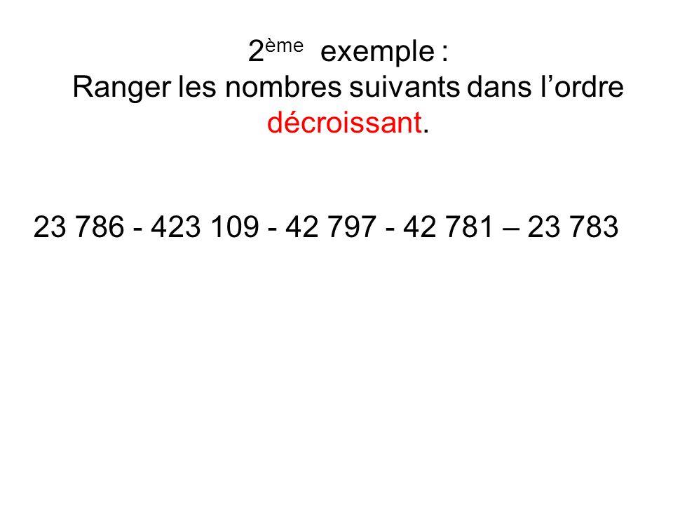 2ème exemple : Ranger les nombres suivants dans l'ordre décroissant.