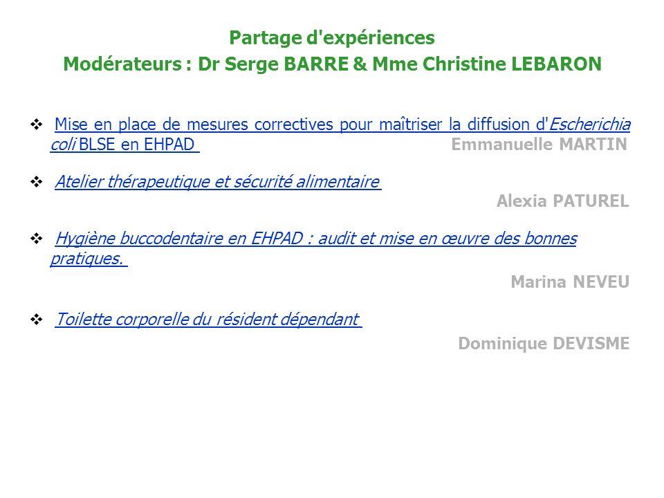 Modérateurs : Dr Serge BARRE & Mme Christine LEBARON