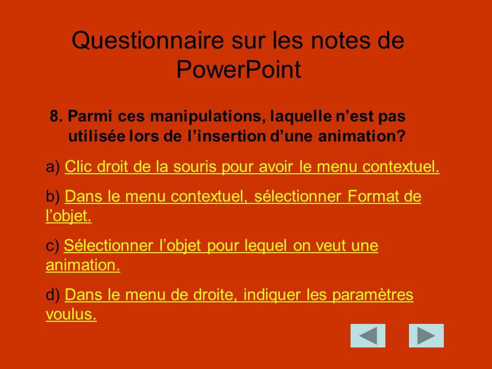 Questionnaire sur les notes de PowerPoint