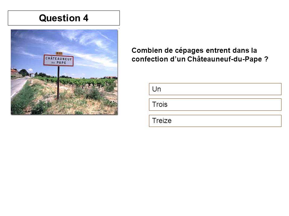 Question 4 Combien de cépages entrent dans la confection d'un Châteauneuf-du-Pape Un Trois Treize