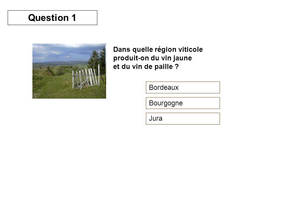 Question 1 Dans quelle région viticole produit-on du vin jaune et du vin de paille Bordeaux. Bourgogne.