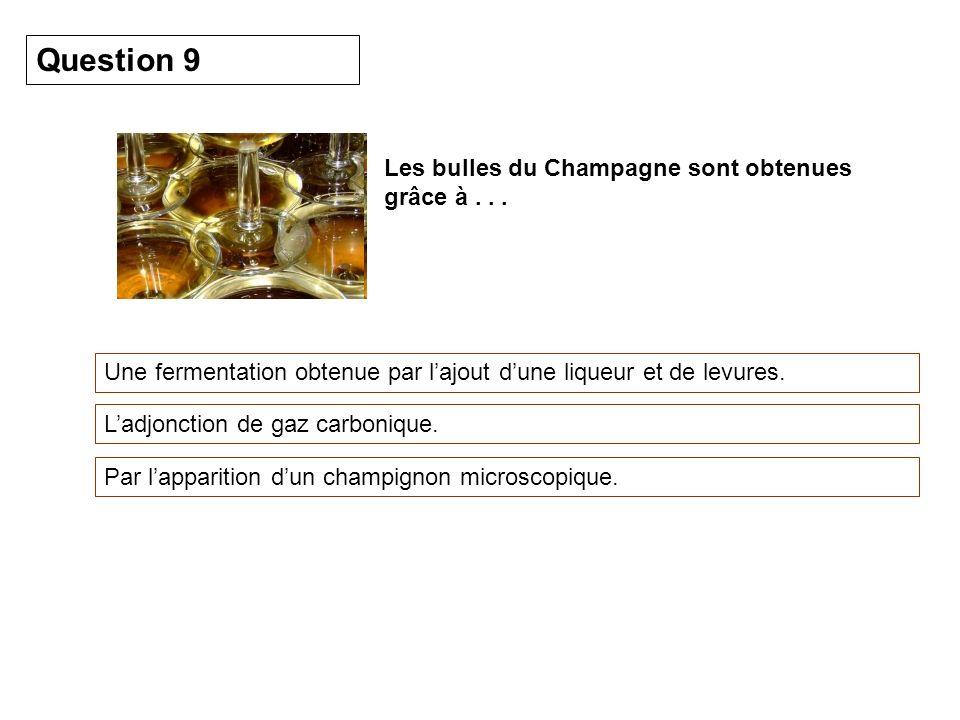 Question 9 Les bulles du Champagne sont obtenues grâce à . . .