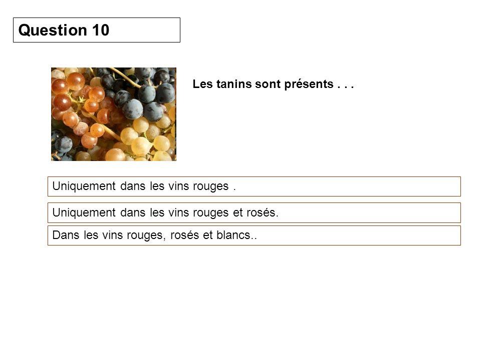 Question 10 Les tanins sont présents . . .