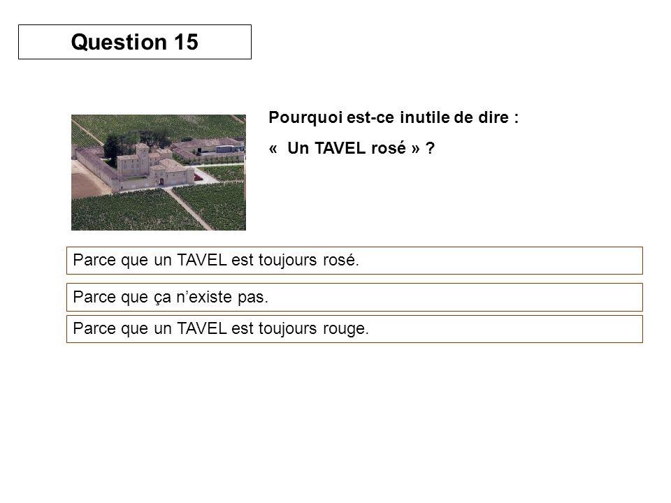 Question 15 Pourquoi est-ce inutile de dire : « Un TAVEL rosé »