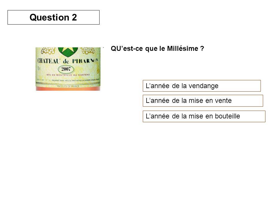 Question 2 QU'est-ce que le Millésime L'année de la vendange