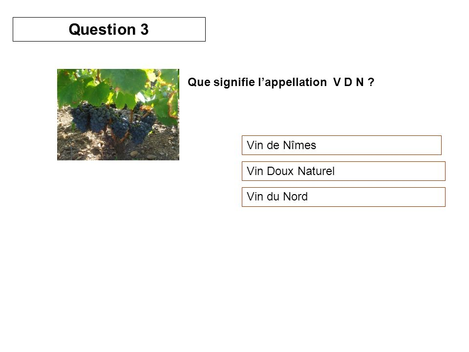 Question 3 Que signifie l'appellation V D N Vin de Nîmes