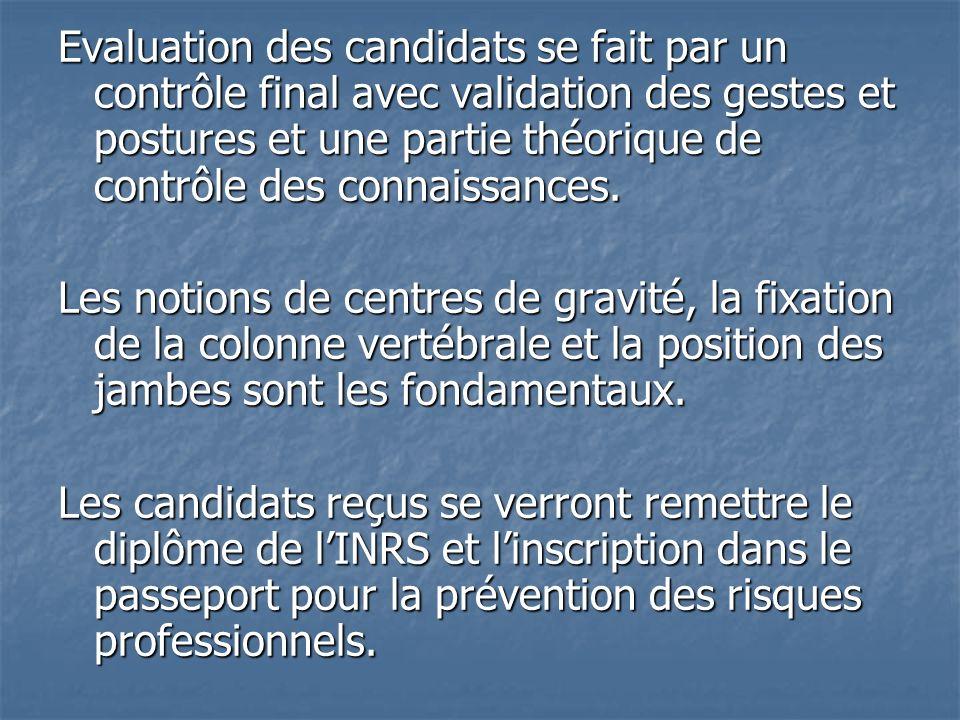 Evaluation des candidats se fait par un contrôle final avec validation des gestes et postures et une partie théorique de contrôle des connaissances.