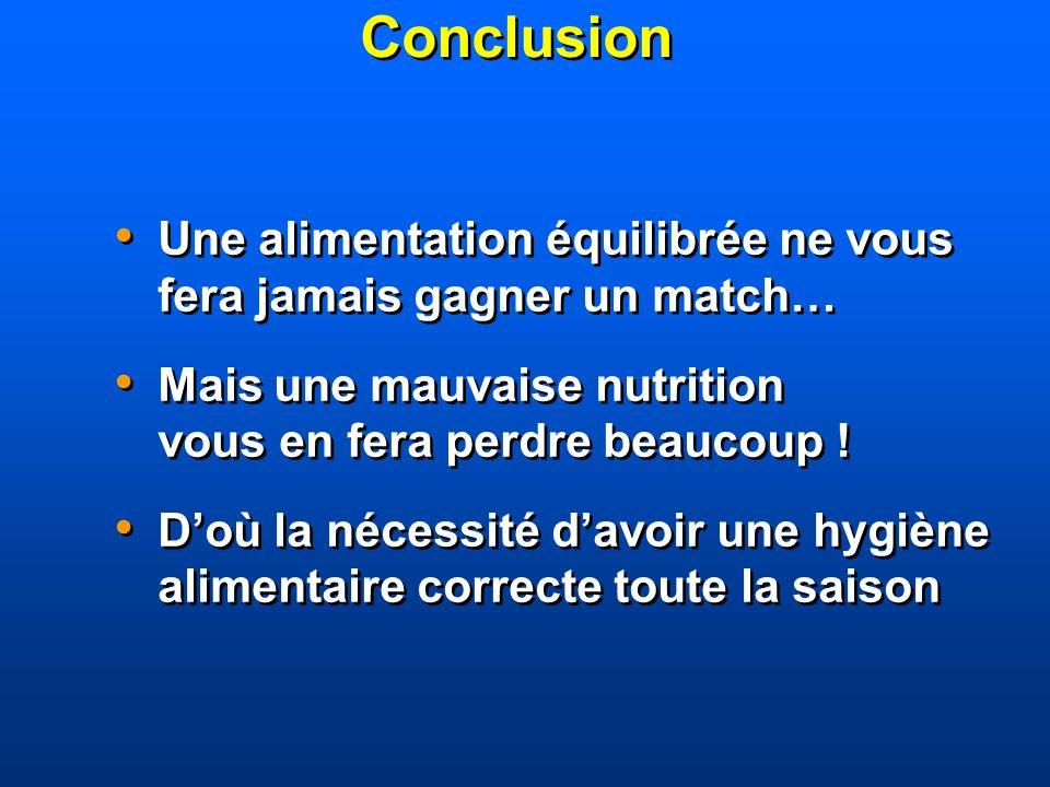 ConclusionUne alimentation équilibrée ne vous fera jamais gagner un match… Mais une mauvaise nutrition vous en fera perdre beaucoup !